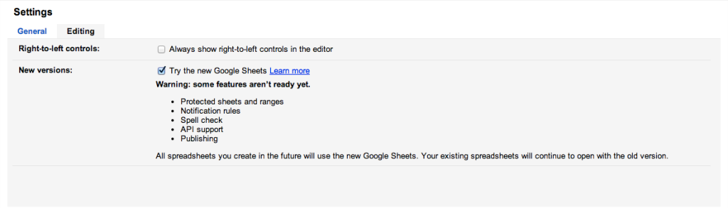google new sheets