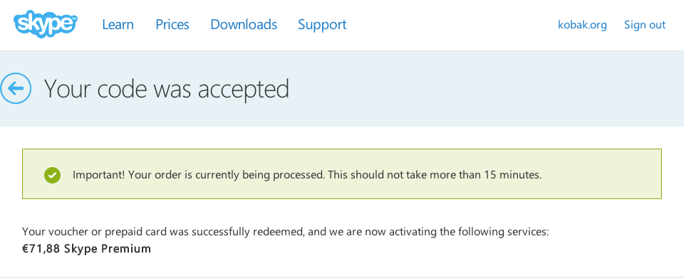 Skype premium voucher accepted