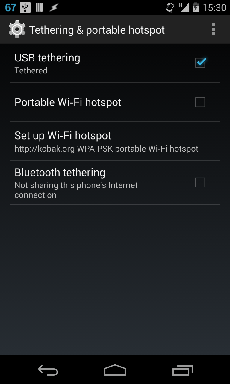 Android USB Tethering
